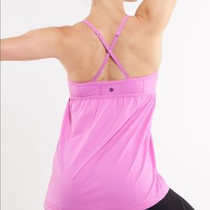 Lululemon Tank Top 6 Shirt with Bra Pink Yoga Gym